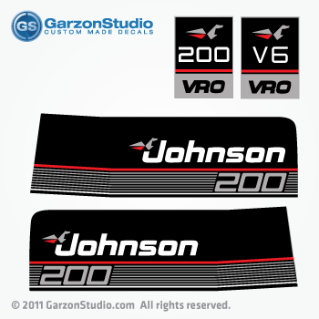 Johnson 200 Vro V6 Outboard Decals 1990