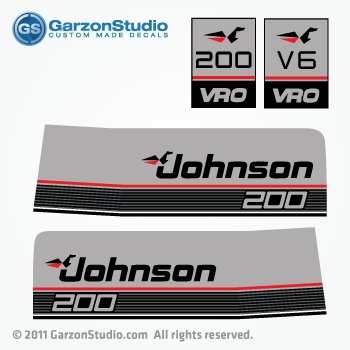Johnson 200 Vro Outboard Decals J140tlase 1990