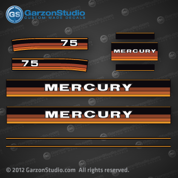 1984 1985 MERCURY 75 hp decal set 75hp decals
