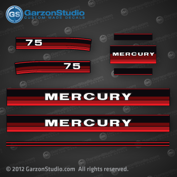 1984 1985 MERCURY 75 hp decal set 75hp decals red theme