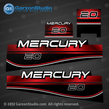 1994-1998 MERCURY 20 hp decal set 37-808499A96 design II