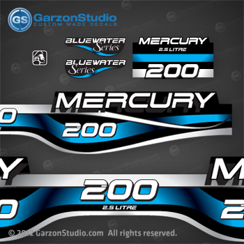 1994 1995 1996 1997 1998 1999 MERCURY 200 hp decal set design II 200hp 2.5 litre bluewater series part number 808562A99 DECAL SET DECAL SET (200 XL/CXL BLUEWATER)