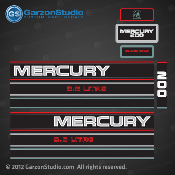 Mercury Hp Litre Decal Set on 200 Hp Mercury Outboard Motor
