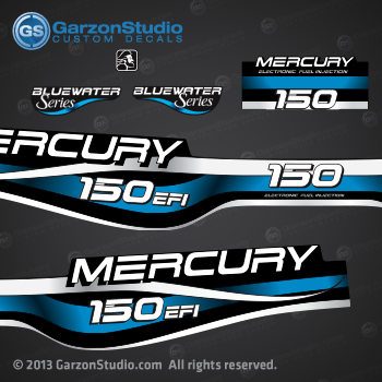 1994 1995 1996 1997 1998 1999 MERCURY 175 hp decal set design II 150hp EFI bluewater series part number 809687A99 DECAL SET DECAL SET (150 XL/CXL BLUEWATER)