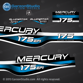 1994 1995 1996 1997 1998 1999 MERCURY 175 hp decal set design II 175hp EFI bluewater series part number 809688A99 DECAL SET DECAL SET (175 XL/CXL BLUEWATER)