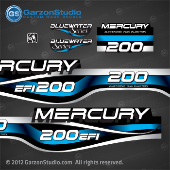 1994 1995 1996 1997 1998 1999 MERCURY 200 hp decal set design II 200hp EFI bluewater series part number 808562A99 DECAL SET DECAL SET (200 XL/CXL BLUEWATER)