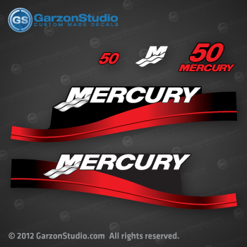 1999 2000 2001 2002 2003 2004 2005 2006 MERCURY 50 hp decal set red decals cowling graphics