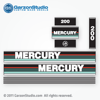 MERCURY 200 hp 1990 1991 v200 v6 decal set black max teal