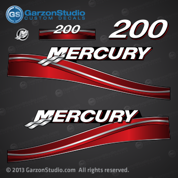 2003 2004 2005 2006 MERCURY 200 hp decal set Red 200hp decals cowling graphics sticker  855410A04 DECAL SET 200 Mercury/Tracker Red