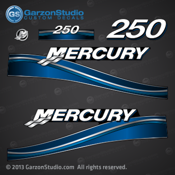 2003 2004 2005 2006 MERCURY 250 hp decal set Blue 250hp decals cowling graphics sticker   DECAL SET 250 Saltwater Blue
