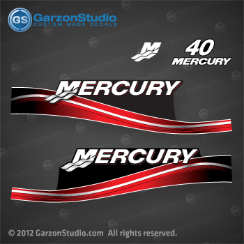 2005 2006 2007 2008 2009 MERCURY 40 hp decal set red 40hp decals cowling graphics