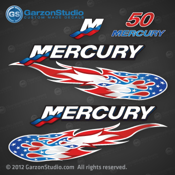 2005 2006 2007 2008 2009 MERCURY 50 hp decal set red 50hp decals cowling graphics stars and stripes flames
