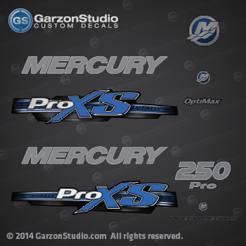 2013 Mercury 250 hp Optimax Pro XS decal set Blue 250hp proxs direct injection M logo sticker set kit replica