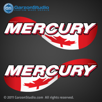 MERCURY outboards canada flag decals stickers