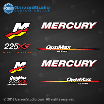 90 Hp Mercury Outboard >> Mercury Racing 2006-2012 225xs Optimax Outboard decal set ...