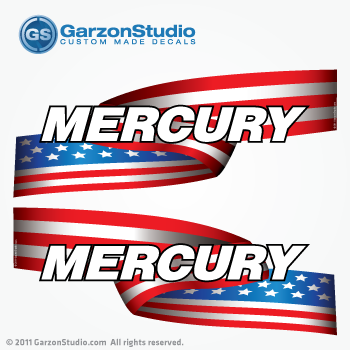 MERCURY Stars And Stripes Outboard Decal Set US FLAG - Decals for boat motors