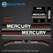 1989 1990 MERCURY 200 hp v6 decal set black max kit j-straps jock straps 813220A89