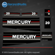 Mercury 20 hp decals 1989 1990 1991 20hp