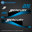 1999 2000 2001 2002 2003 2004 2005 2006 2007 MERCURY 200 hp Saltwater decal set BLUE