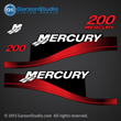 1999 2000 2001 2002 2003 2004 2005 2006 2007 MERCURY 200 hp Saltwater decal set red