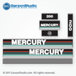 MERCURY 200 hp 1990 1991 v200 v6 decal set teal