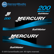 2000 2001 2002 2003 2004 2005 2000-2005 MERCURY 200 hp 2.5L SaltWater Carbureted decal set blue MERC 200 XL CARB