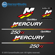 Mercury Racing 2003 2004 250 hp 250hp 250xs 250 xs Optimax 3.0 decal set Mercury racing decals for your Optimax motor cowling 3.2 stroker direct injection Custom Built by Mercury Racing M logo decals kit sticker stickers 841170A03 DECAL SET 250XS DFI (3.0L)