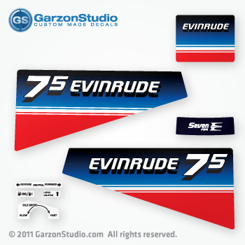 Evinrude 7 5 Seven Five Decal Set 80s Mercurydecals Com