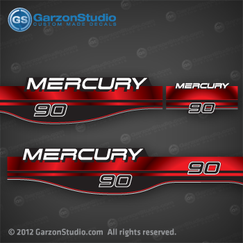 90 Hp Mercury Outboard >> 1994-1998 MERCURY 90 hp decal set Red | MercuryDecals.com