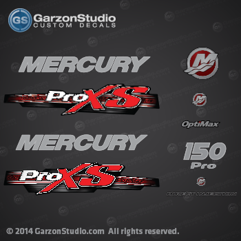 2013 mercury 150 hp optimax pro xs decal set for Custom outboard motor decals