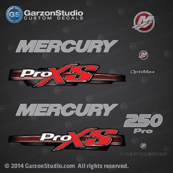 2013 Mercury 250 hp Optimax Pro XS decal set Red | MercuryDecals com